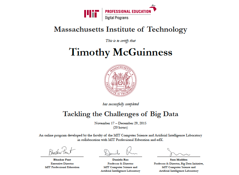 MIT Big Data Certificate